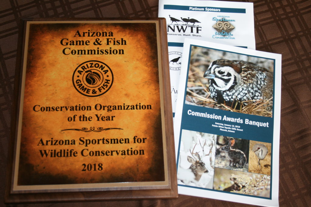 2018 Conservation Organization of the Year AZGF Commission Plaque