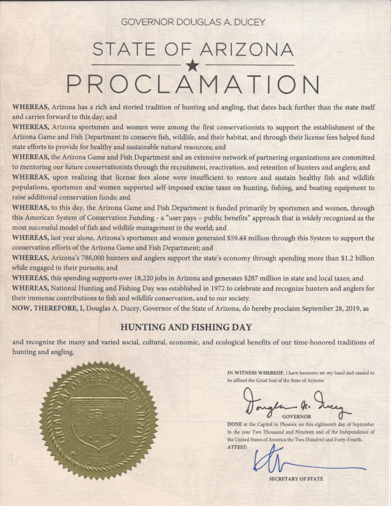 2019 Hunting & Fishing Day Proclamation